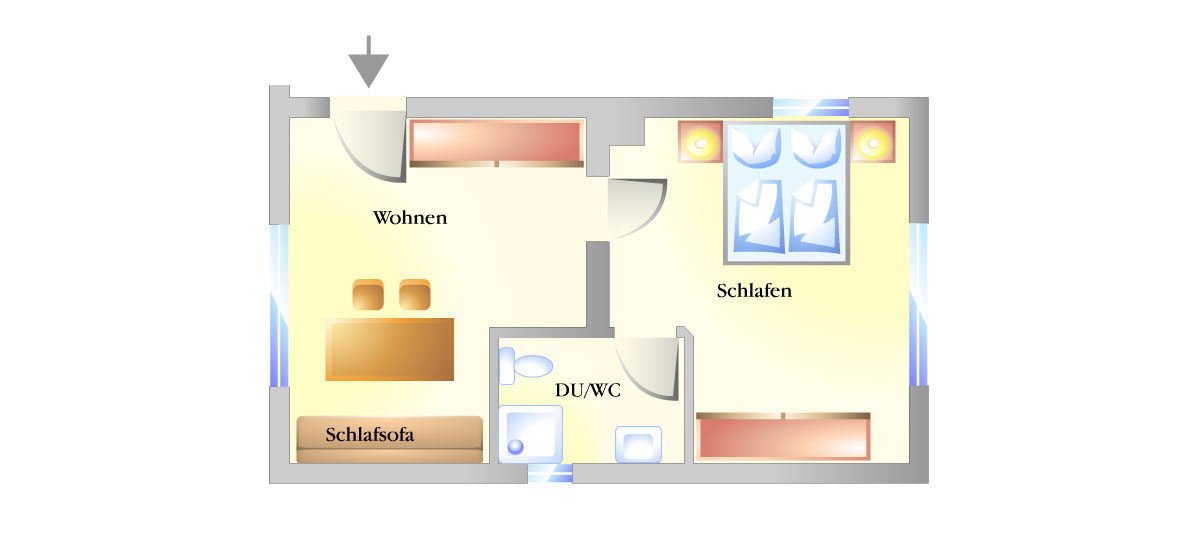 Grundriss Appartment 1